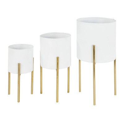 Set of 3 Contemporary Metal Planters in Stands White/Gold - Olivia & May
