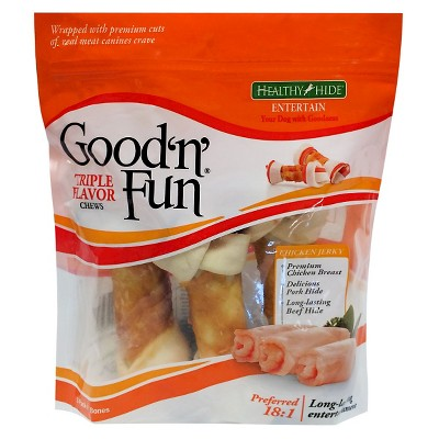 Good 'N' Fun Triple Flavor Rawhide Chews Long Lasting Dog Treats