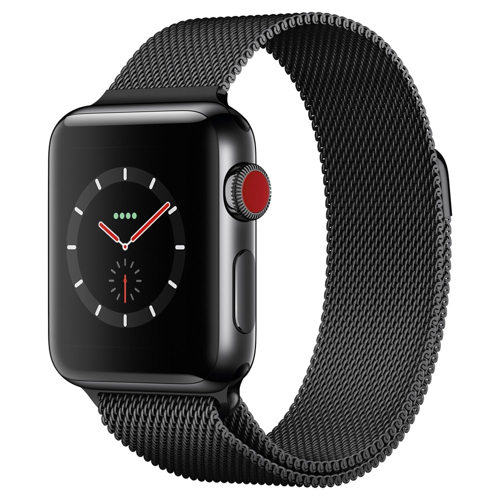 Apple Watch Series 3 38mm (Gps + Cellular) Stainless Steel Case Milanese Loop Band - Space Black Answer a call from your surfboard. Ask Siri to send a message. Stream your favorite songs on your run. And do it all while leaving your phone behind. Introducing Apple Watch Series 3 with cellular. Now you have the freedom to go with just your watch. Color: Space Black.