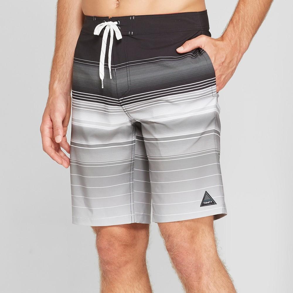 Trinity Collective Men's Striped 10 Board Shorts - Black 33