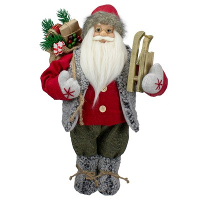 """Northlight 18"""" Standing Santa Christmas Figure Carrying Presents and a Sled"""
