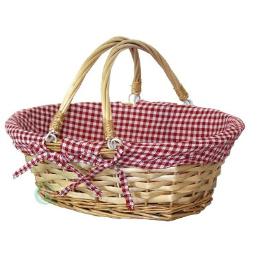 Vintiquewise Oval Willow Basket with Double Drop Down Handles Red White Plaid Lining