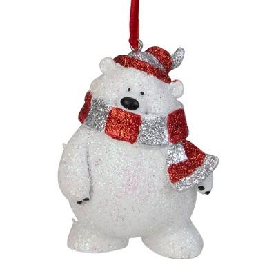 """Kurt S. Adler 3.5"""" White and Silver Glittered Polar Bear Christmas Ornament"""