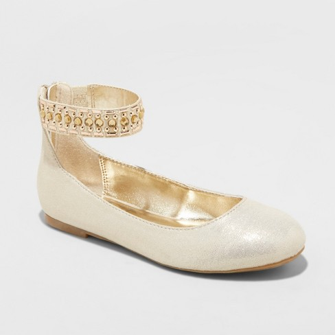 Girls' Flowers by Nina Triana Dressy Ballet Flats - Gold 5 - image 1 of 4