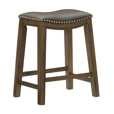 Homelegance 24-Inch Counter Height Wooden Bar Stool with Solid Wood Legs and Faux Leather Saddle Seat Kitchen Barstool Dinning Chair, Brown and Gray