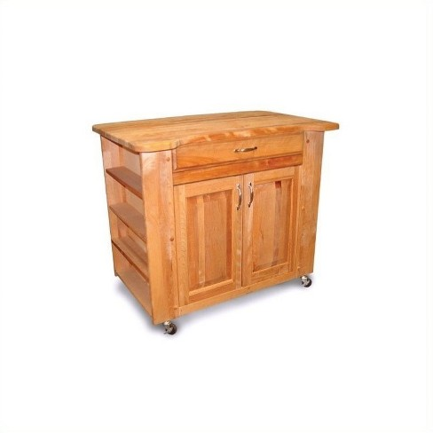 Wood Catskill Deep Storage Large Butcher Block Kitchen Cart in Natural  Brown - Catskill Craftsmen