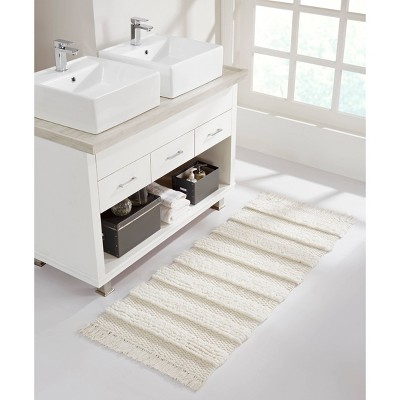 Savannah Cotton Fringe Bath Runner White - VCNY