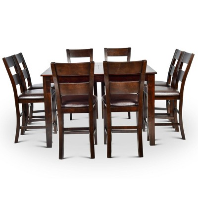 9pc Tory Counter Height Extendable Dining Table Set Espresso Brown - Steve Silver