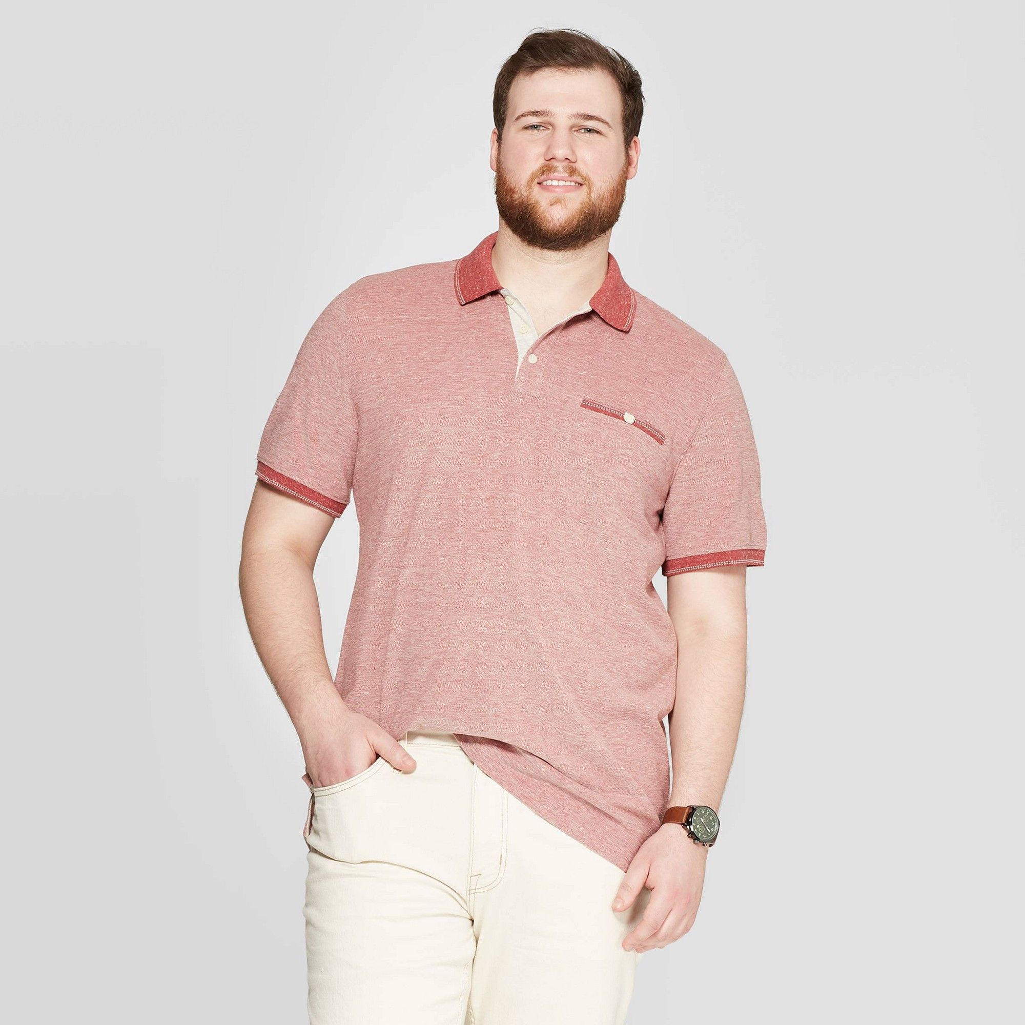 Men's Tall Retro Polo Shirt - Goodfellow & Co Red Xlt