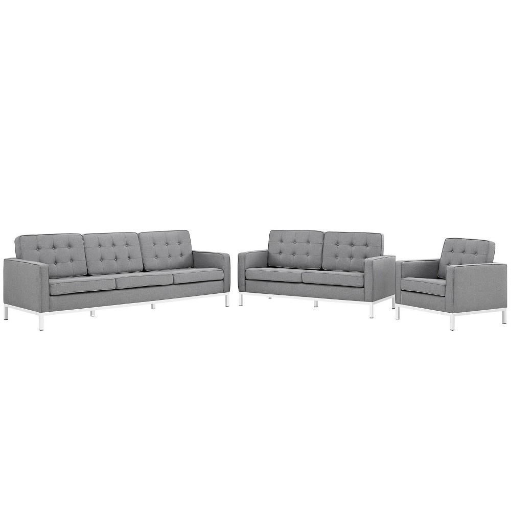 Set of 3 Sofa, Love Seat, Accent Chair Loft Living Room Set Upholstered Fabric Light Gray - Modway