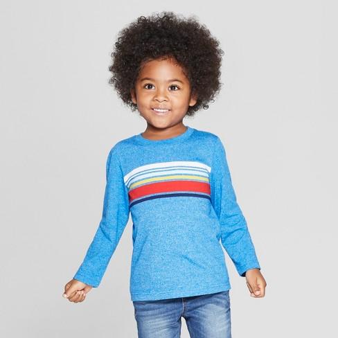 820fda3f14 Toddler Boys' Center Stripe Long Sleeve T-Shirt - Cat & Jack™ Blue ...