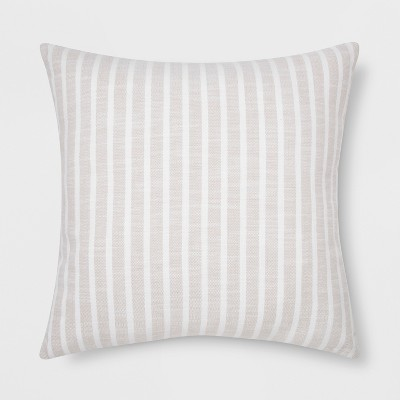 Woven Stripe Square Throw Pillow Neutral - Threshold™