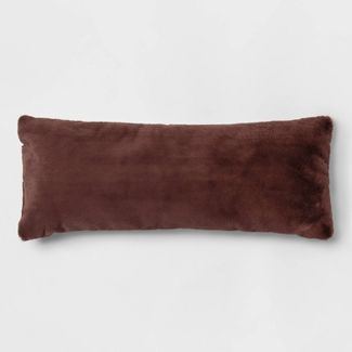 Ovesized Oblong Faux Fur & Linen Throw Pillow Red - Threshold™