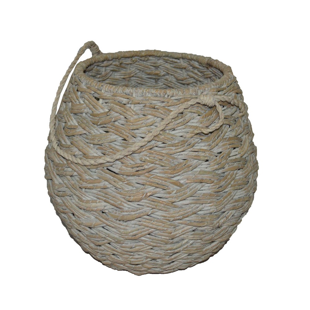 Medium Round Basket White Washed 12.75