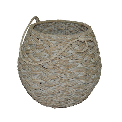 "12.75""x14.25"" Medium Round Basket White Washed - Threshold™ - image 1 of 3"