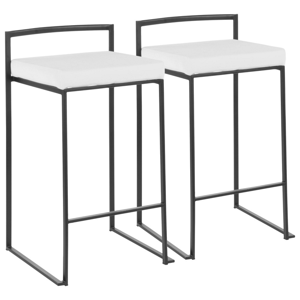 Set Of 2 26 34 Fuji Contemporary Counter Height Barstools Off White Lumisource