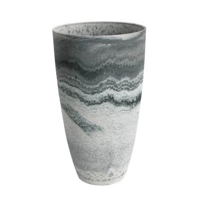 Algreen 43429 Acerra 12 Inch Diameter x 20 Inch Tall Curved Yard and Patio Vase Garden Flower Plant Planter Pot, Marble