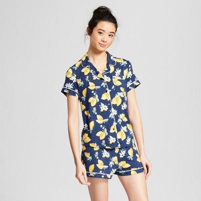Women's Total Comfort Notch Collar Pajama Set - Gilligan & O'Malley™ Navy/Lemon M