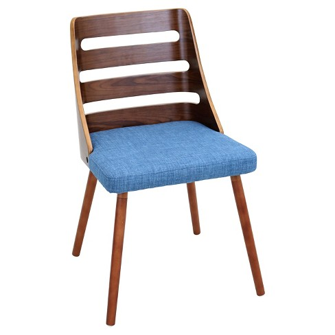 Stupendous Trevi Mid Century Modern Walnut Wood Chairs Blue Fabric Lumisource Lamtechconsult Wood Chair Design Ideas Lamtechconsultcom