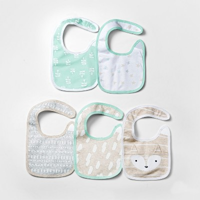 Baby 5pk Bibs Cloud Island™ - Mint/White
