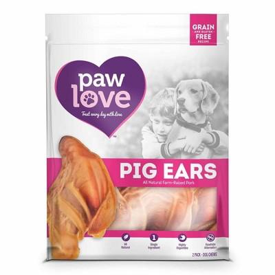 Paw Love Pig Ears Dental Chews Dog Treats - 2pk