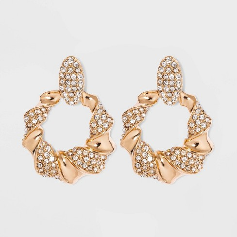 Crystal Pave Drop Hoop Earrings - A New Day™ Gold - image 1 of 2