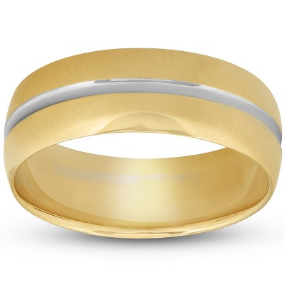 Pompeii3 8MM Mens 14k Yellow Gold Ring Two Tone Brushed Wedding Band