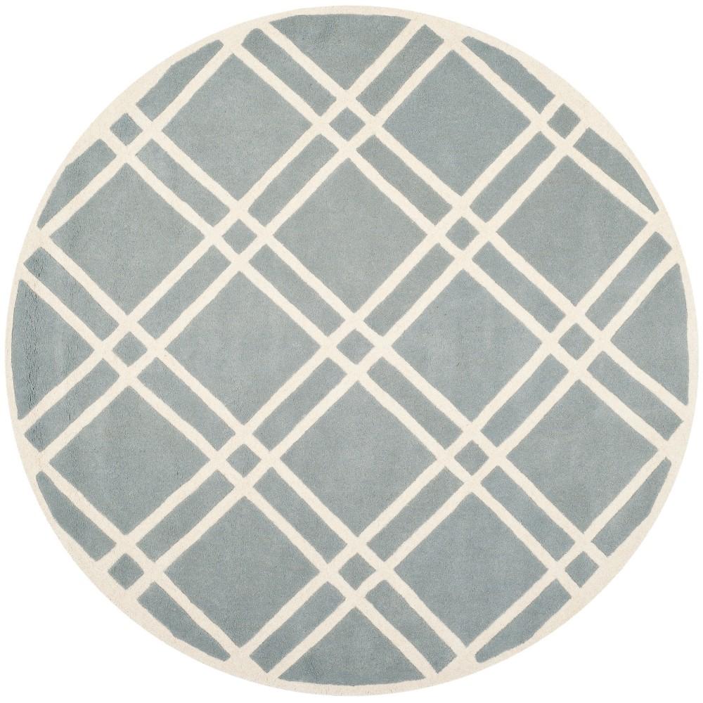 7' Geometric Tufted Round Area Rug Blue/Ivory - Safavieh