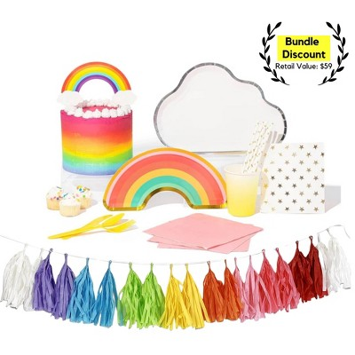 82pc Rainbow Party Supplies Great Value Ultimate Kit
