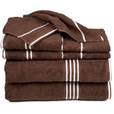 8pc Striped Towel Set Brown - Yorkshire Home