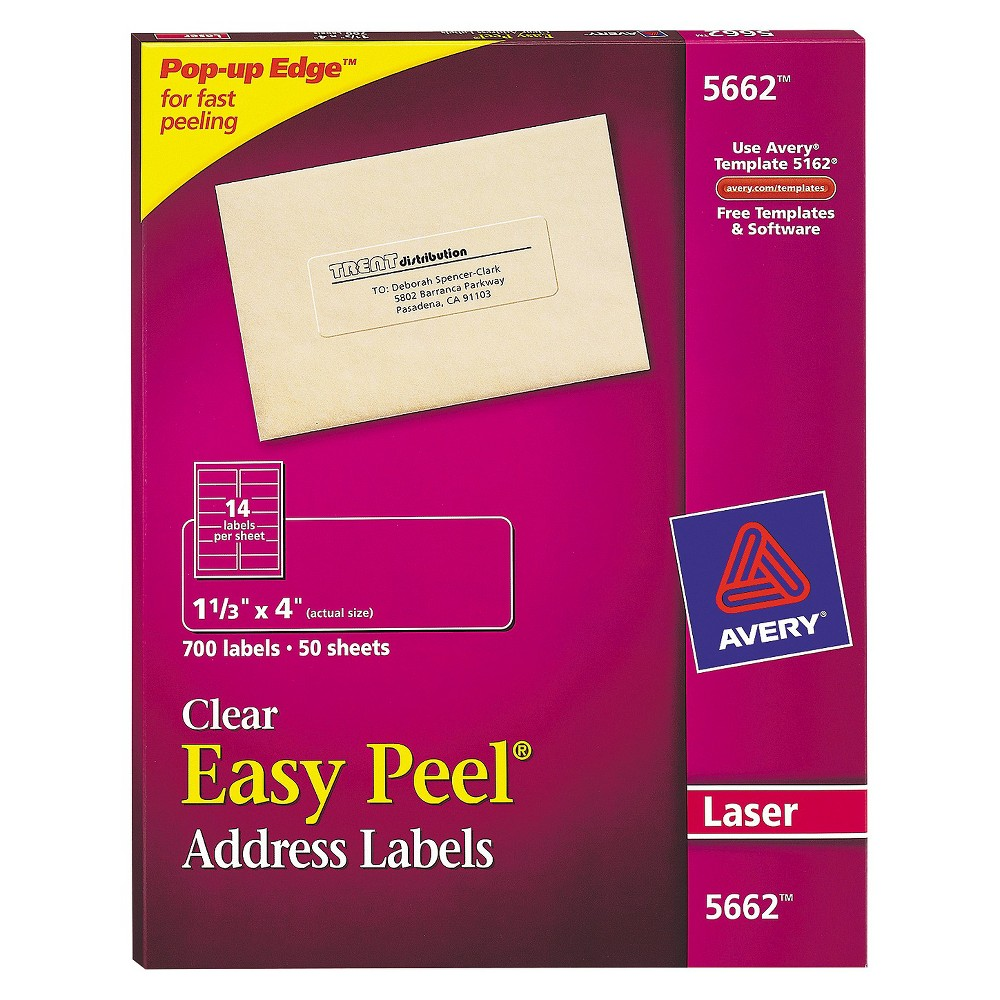 Avery Easy Peel Laser Mailing Labels, 1-1/3 x 4, Clear, 700/Box, Size: Small, Beige