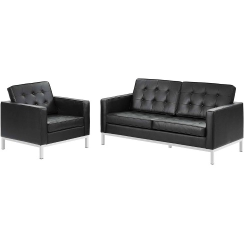 2pc Loft Leather Loveseat and Armchair Set - Modway - image 1 of 4