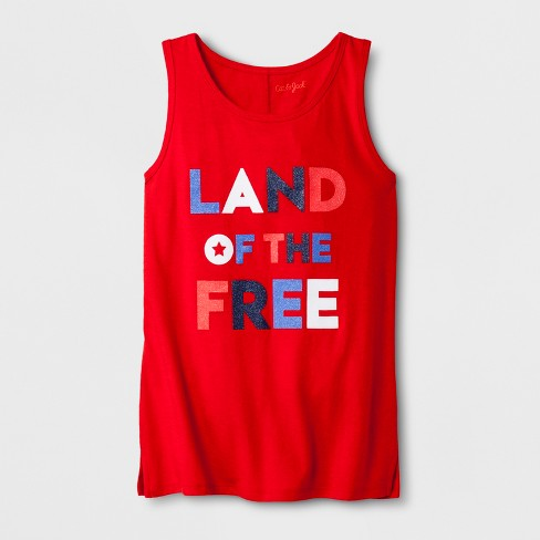 Girls' Sleeveless Americana Land of the Free Graphic Tank Top - Cat & Jack™ Red - image 1 of 1