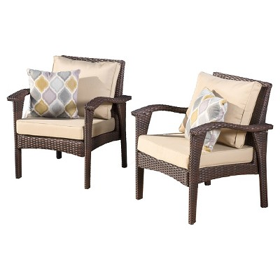 Honolulu Set of 2 Wicker Patio Club Chair With Cushion - Brown - Christopher Knight Home