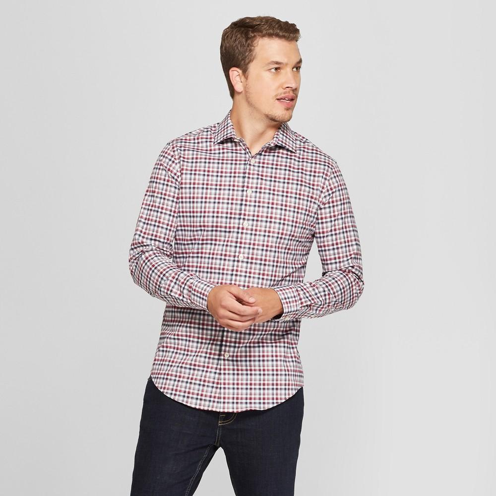 Men's Slim Fit Long Sleeve Button-Down Shirt - Goodfellow & Co Berry Cobbler XL
