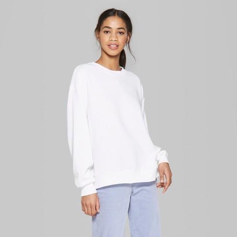 b29c31a759ae Women s Oversized Long Sleeve Crew Neck Sweatshirt - Wild Fable™ White