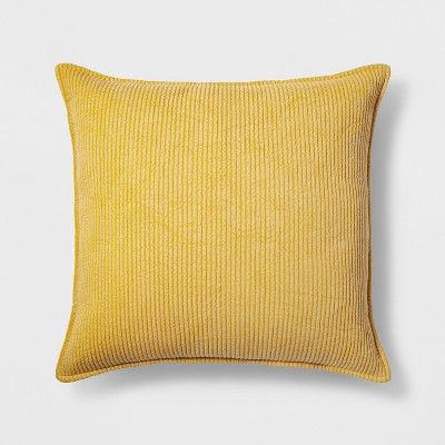 Quilted Oversize Square Throw Pillow Yellow - Threshold™