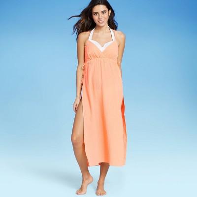 Women's V-Neck Midi Cover Up Dress - Xhilaration™ Neon Peach