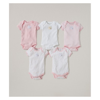 Burt's Bees Baby® Girls' Organic Cotton 5pk Bodysuit Set - Blossom 3-6M