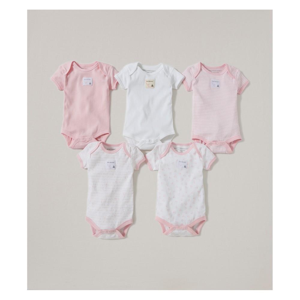 Burt's Bees Baby Girls' Organic Cotton 5pk Short Sleeve Bodysuit Set - Blossom 12M, Pink