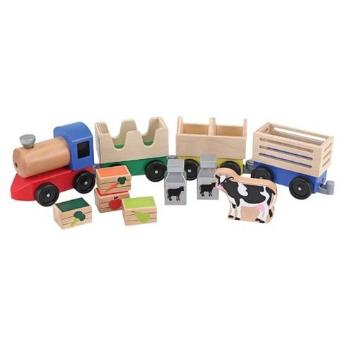 Melissa & Doug® Wooden Farm Train Set - Classic Wooden Toy (3 linking cars) - image 1 of 3