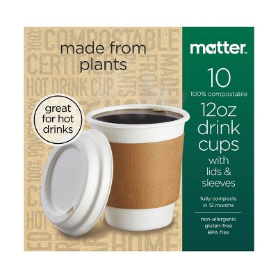 Matter 100% Compostable Hot Cups and Lids - 10ct/12oz