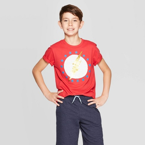 Boys' The Flash Americana Flip Sequin Short Sleeve T-Shirt - Red - image 1 of 4