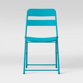 Metal Slat Patio Folding Chair Aqua - Room Essentials™