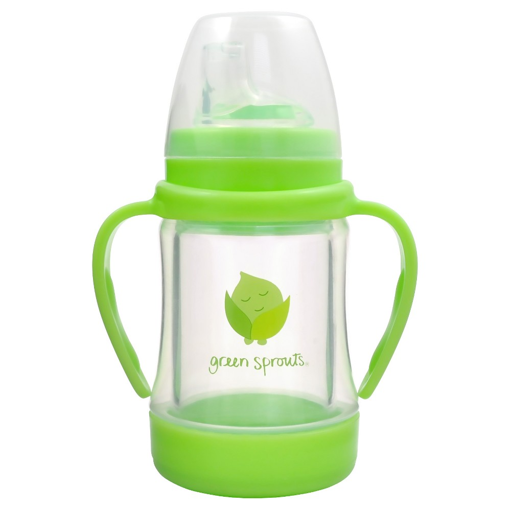 green sprouts Glass Sip & Straw Cup - Green