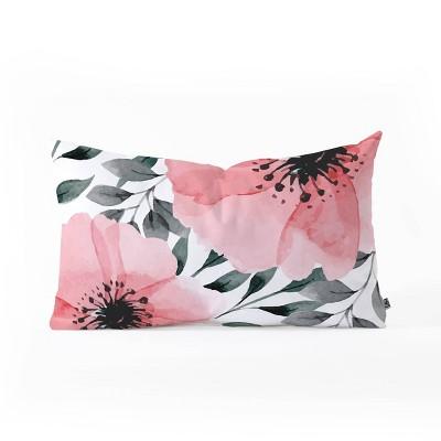 Marta Barragan Camarasa Big Flowers Oblong Lumbar Throw Pillow Pink - Deny Designs