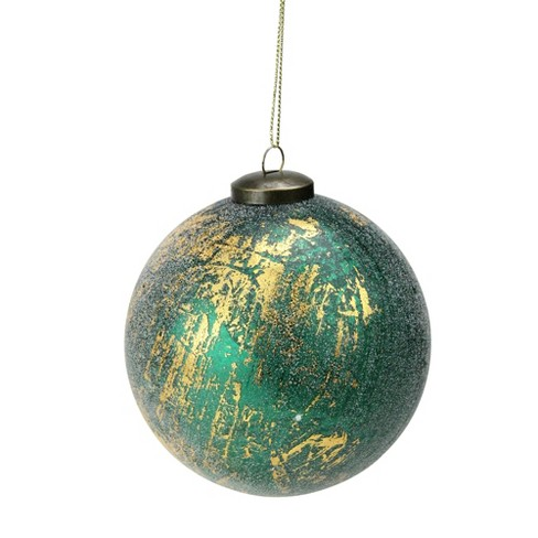 Aqua Christmas Ornaments.Melrose 5 Frosted Christmas Ornament Metallic Gold Emerald Green