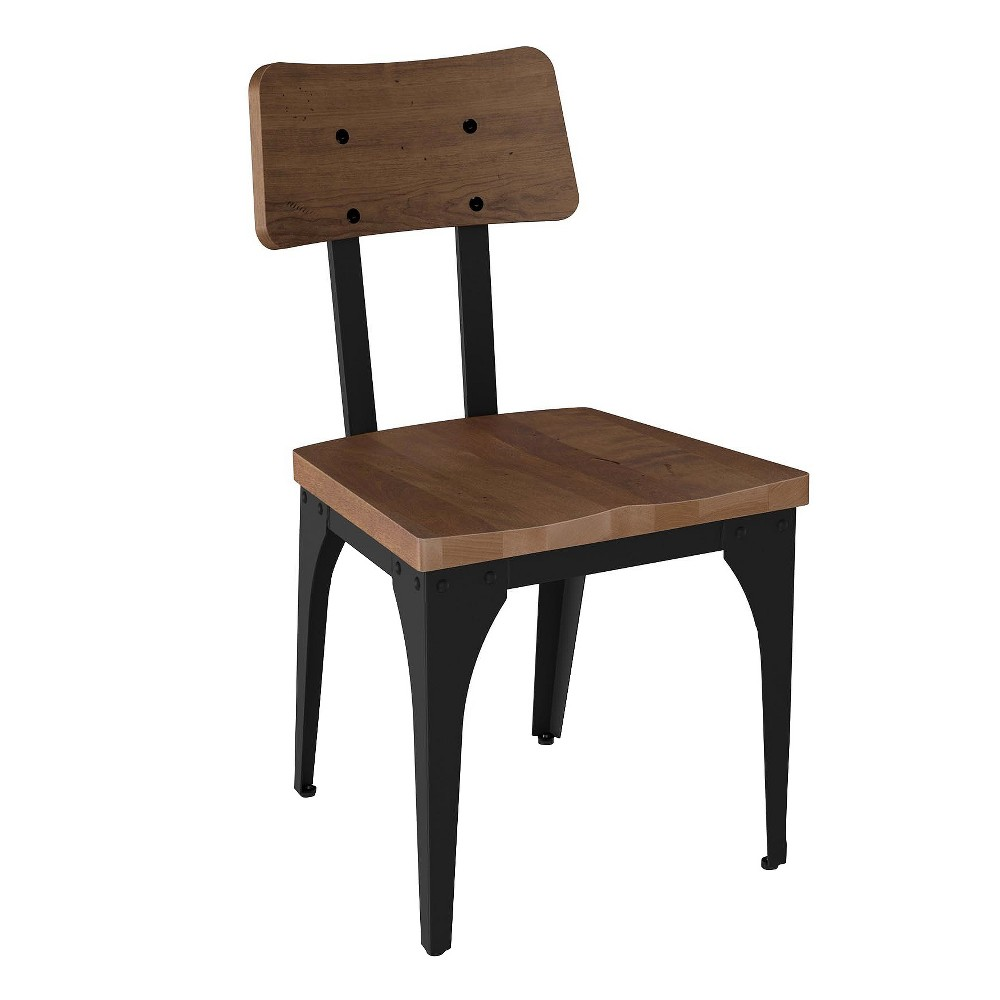Woodland Metal Dining Chair With Distressed Wood Seat And Backrest Black And Brown 2 in Set - Amisco, Brown/Black