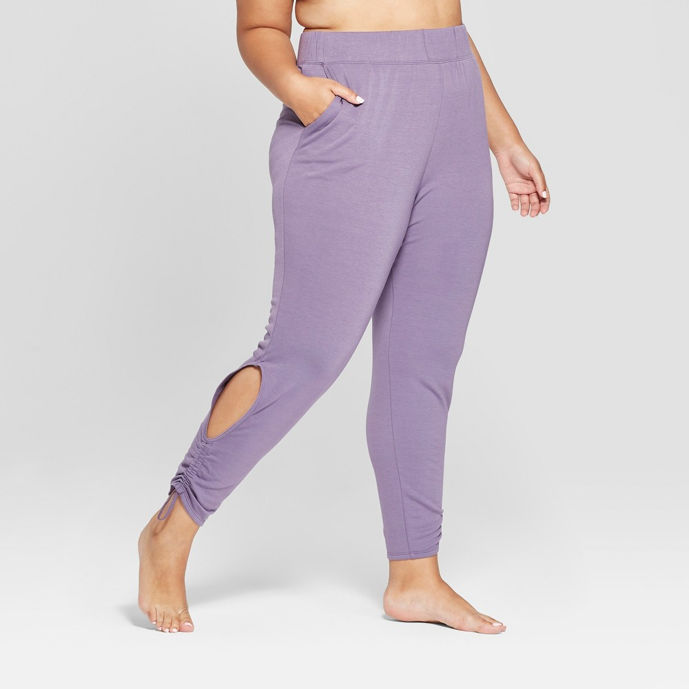 Women's Plus Size Cut - Out Fleece Pants - JoyLab Violet Smoke 1X