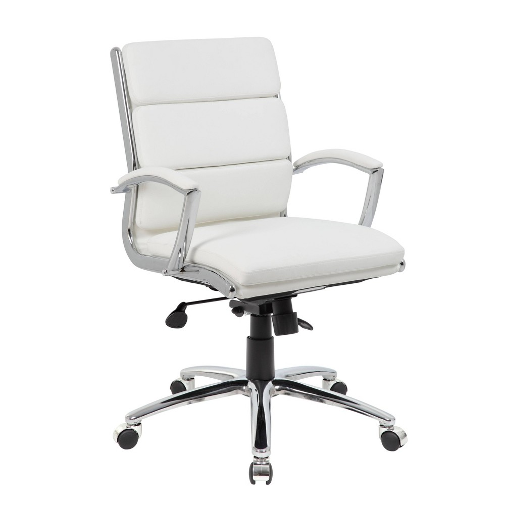 "Image of ""37"""" Executive Chair White/Chrome Finish - Boss Office Products"""